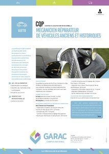 Formation de mecanicien reparateur de vehicules anciens et historiques